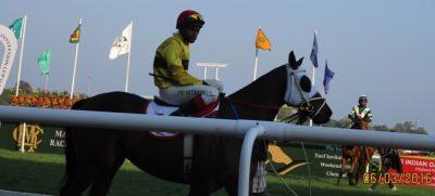 Jockey Mohammad Hesnain astride Smart Strider