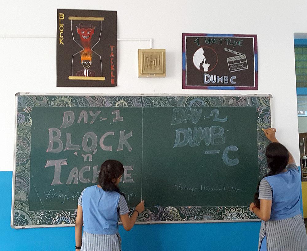 Students getting ready for Kalpa Kosha Culturals