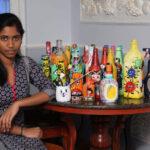 Tharansia's art on bottles raises fund for Corona relief