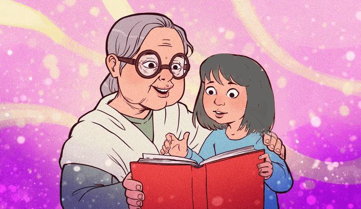 grandma and kid