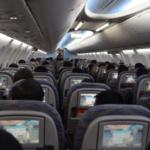 Inside airplane